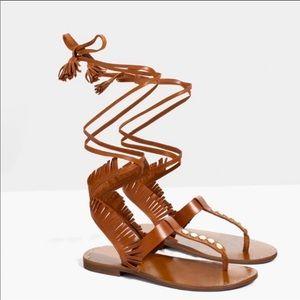 Zara Brown Leather Stud Detail Gladiator Sandals